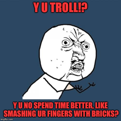 Y U No Meme | Y U TROLL!? Y U NO SPEND TIME BETTER, LIKE SMASHING UR FINGERS WITH BRICKS? | image tagged in memes,y u no | made w/ Imgflip meme maker