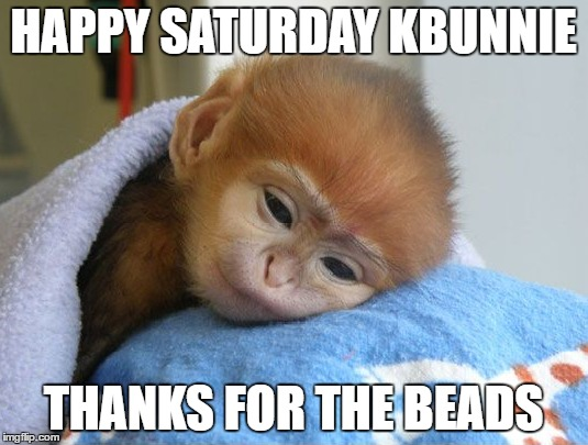 HAPPY SATURDAY KBUNNIE; THANKS FOR THE BEADS | made w/ Imgflip meme maker