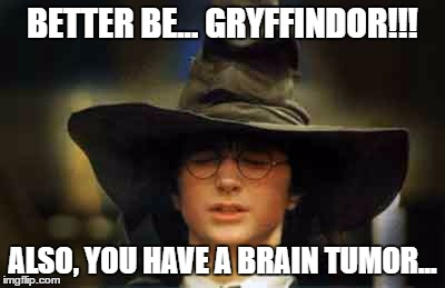 Harry Potter sorting hat | BETTER BE... GRYFFINDOR!!! ALSO, YOU HAVE A BRAIN TUMOR... | image tagged in harry potter sorting hat,memes,funny memes,funny because it's true,brain tumor,gryffindor | made w/ Imgflip meme maker
