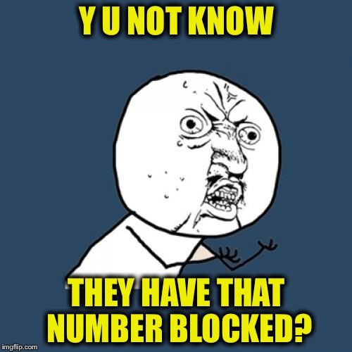 Y U No Meme | Y U NOT KNOW THEY HAVE THAT NUMBER BLOCKED? | image tagged in memes,y u no | made w/ Imgflip meme maker