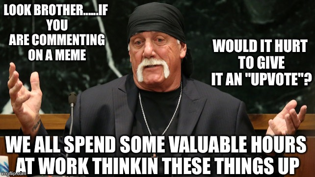 "Confused hulk hogan | LOOK BROTHER......IF YOU ARE COMMENTING ON A MEME WOULD IT HURT TO GIVE IT AN ""UPVOTE""? WE ALL SPEND SOME VALUABLE HOURS AT WORK THINKIN THE 