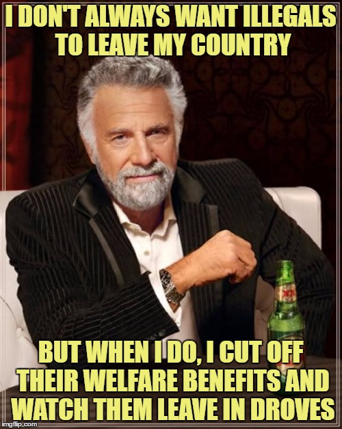 Secure the borders now! | I DON'T ALWAYS WANT ILLEGALS TO LEAVE MY COUNTRY BUT WHEN I DO, I CUT OFF THEIR WELFARE BENEFITS AND WATCH THEM LEAVE IN DROVES | image tagged in memes,the most interesting man in the world,illegal immigration,trump | made w/ Imgflip meme maker