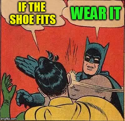 Batman Slapping Robin Meme | IF THE SHOE FITS WEAR IT | image tagged in memes,batman slapping robin | made w/ Imgflip meme maker