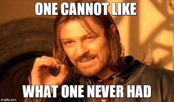 One Does Not Simply Meme | ONE CANNOT LIKE WHAT ONE NEVER HAD | image tagged in memes,one does not simply | made w/ Imgflip meme maker
