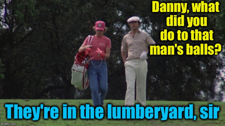 Caddy Shack Ty/Danny | Danny, what did you do to that man's balls? They're in the lumberyard, sir | image tagged in caddy shack ty/danny | made w/ Imgflip meme maker