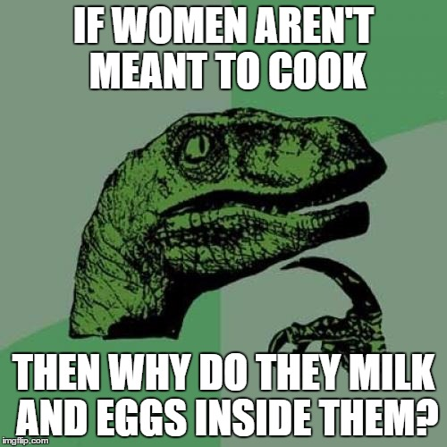 Philosoraptor Meme | IF WOMEN AREN'T MEANT TO COOK THEN WHY DO THEY MILK AND EGGS INSIDE THEM? | image tagged in memes,philosoraptor | made w/ Imgflip meme maker