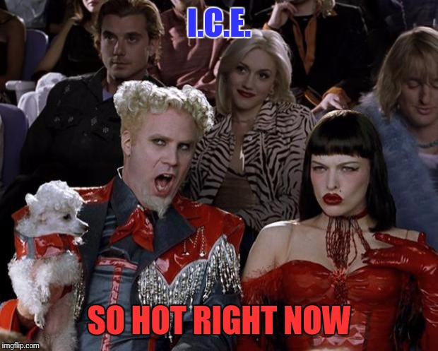 You have to know what the I.C.E. acronym stands for to get it.  | I.C.E. SO HOT RIGHT NOW | image tagged in memes,mugatu so hot right now,illegal immigration,illegal aliens,trump 2016 | made w/ Imgflip meme maker
