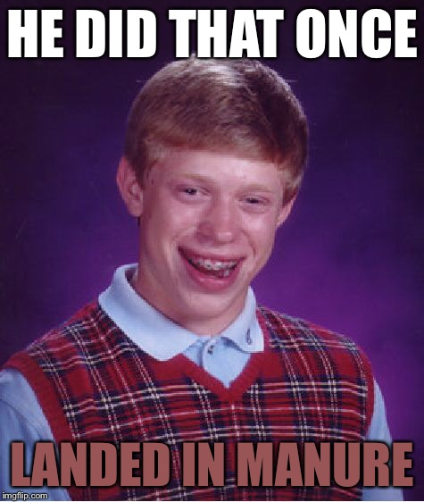 Bad Luck Brian Meme | HE DID THAT ONCE LANDED IN MANURE | image tagged in memes,bad luck brian | made w/ Imgflip meme maker