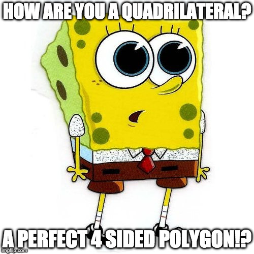 HOW ARE YOU A QUADRILATERAL? A PERFECT 4 SIDED POLYGON!? | image tagged in spongebob squarepantes big eyes | made w/ Imgflip meme maker