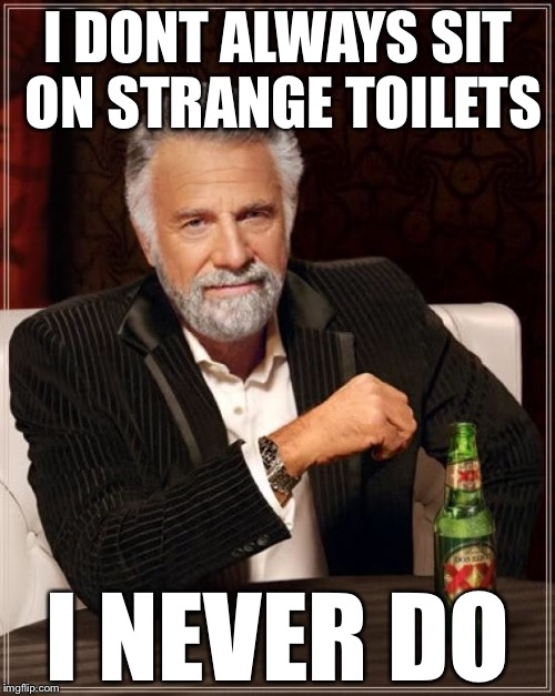 The Most Interesting Man In The World Meme | I DONT ALWAYS SIT ON STRANGE TOILETS I NEVER DO | image tagged in memes,the most interesting man in the world | made w/ Imgflip meme maker