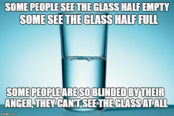 Glass Half Full | SOME PEOPLE SEE THE GLASS HALF EMPTY SOME SEE THE GLASS HALF FULL SOME PEOPLE ARE SO BLINDED BY THEIR ANGER, THEY CAN'T SEE THE GLASS AT ALL | image tagged in glass half full | made w/ Imgflip meme maker