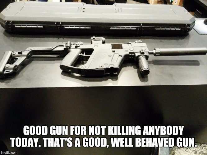 GOOD GUN FOR NOT KILLING ANYBODY TODAY. THAT'S A GOOD, WELL BEHAVED GUN. | made w/ Imgflip meme maker