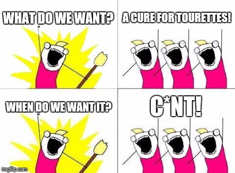 Oldie but goodie. | WHAT DO WE WANT? A CURE FOR TOURETTES! WHEN DO WE WANT IT? C*NT! | image tagged in memes,what do we want | made w/ Imgflip meme maker