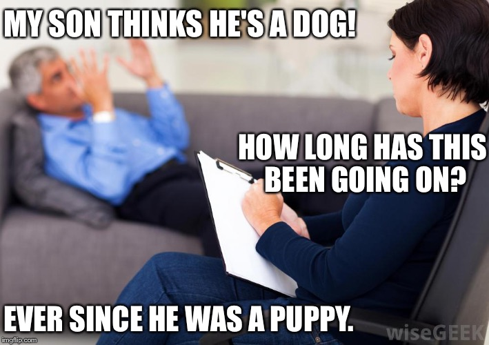 Psychologist |  MY SON THINKS HE'S A DOG! HOW LONG HAS THIS BEEN GOING ON? EVER SINCE HE WAS A PUPPY. | image tagged in psychologist | made w/ Imgflip meme maker
