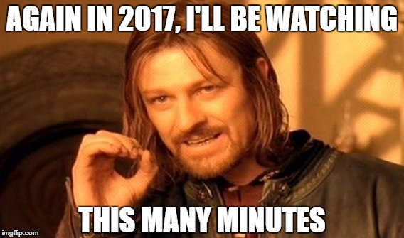 One Does Not Simply Meme | AGAIN IN 2017, I'LL BE WATCHING THIS MANY MINUTES | image tagged in memes,one does not simply | made w/ Imgflip meme maker