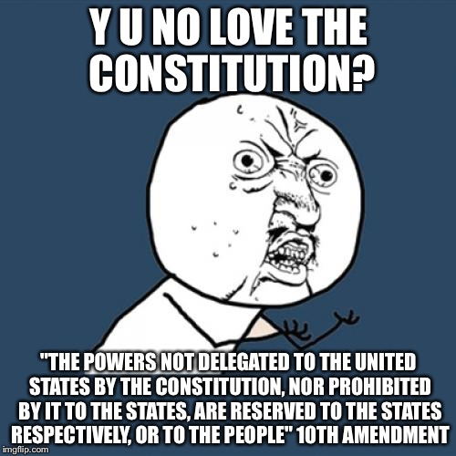 "Y U No Meme | Y U NO LOVE THE CONSTITUTION? ""THE POWERS NOT DELEGATED TO THE UNITED STATES BY THE CONSTITUTION, NOR PROHIBITED BY IT TO THE STATES, ARE RE 