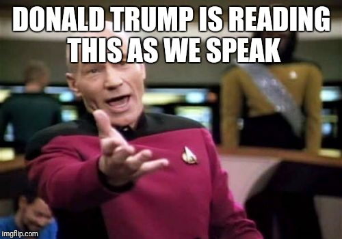 Picard Wtf Meme | DONALD TRUMP IS READING THIS AS WE SPEAK | image tagged in memes,picard wtf | made w/ Imgflip meme maker