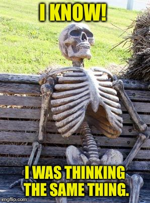 Waiting Skeleton Meme | I KNOW! I WAS THINKING THE SAME THING. | image tagged in memes,waiting skeleton | made w/ Imgflip meme maker