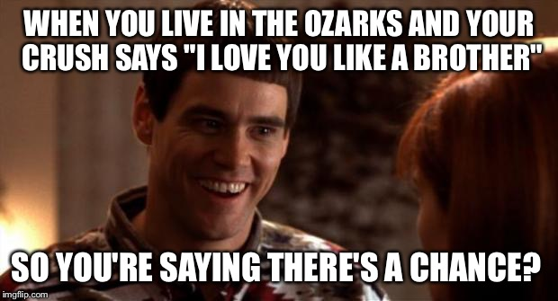 "So you're saying there's a chance | WHEN YOU LIVE IN THE OZARKS AND YOUR CRUSH SAYS ""I LOVE YOU LIKE A BROTHER"" SO YOU'RE SAYING THERE'S A CHANCE? 