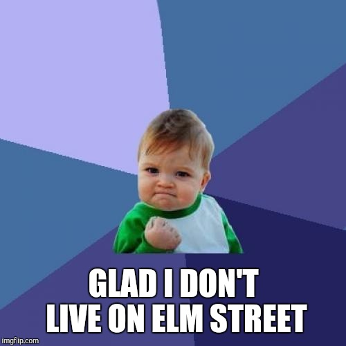 Success Kid Meme | GLAD I DON'T LIVE ON ELM STREET | image tagged in memes,success kid | made w/ Imgflip meme maker