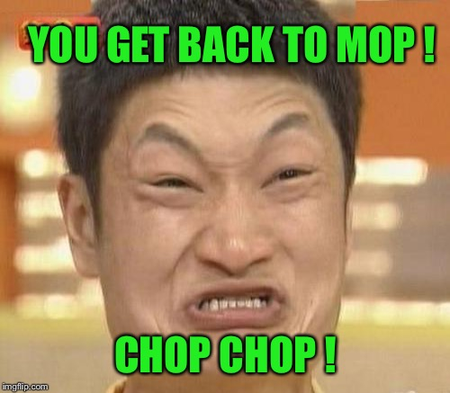 YOU GET BACK TO MOP ! CHOP CHOP ! | made w/ Imgflip meme maker