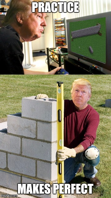 SKILLBILLDER | PRACTICE MAKES PERFECT | image tagged in donald trump,wall,minecraft,funny | made w/ Imgflip meme maker