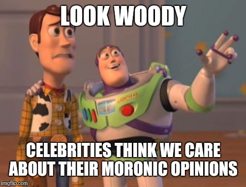 X, X Everywhere Meme | LOOK WOODY CELEBRITIES THINK WE CARE ABOUT THEIR MORONIC OPINIONS | image tagged in memes,x,x everywhere,x x everywhere | made w/ Imgflip meme maker