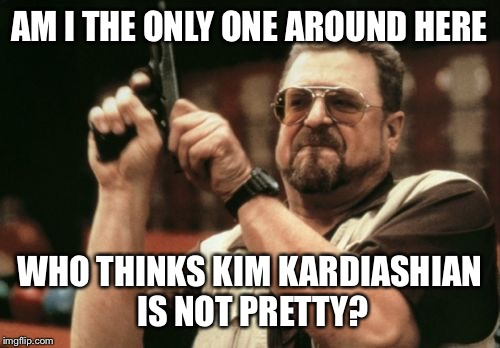 Am I The Only One Around Here Meme | AM I THE ONLY ONE AROUND HERE WHO THINKS KIM KARDIASHIAN IS NOT PRETTY? | image tagged in memes,am i the only one around here | made w/ Imgflip meme maker