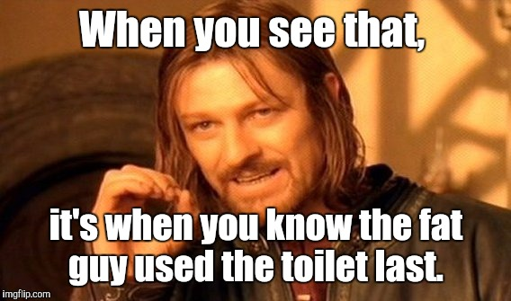One Does Not Simply Meme | When you see that, it's when you know the fat guy used the toilet last. | image tagged in memes,one does not simply | made w/ Imgflip meme maker