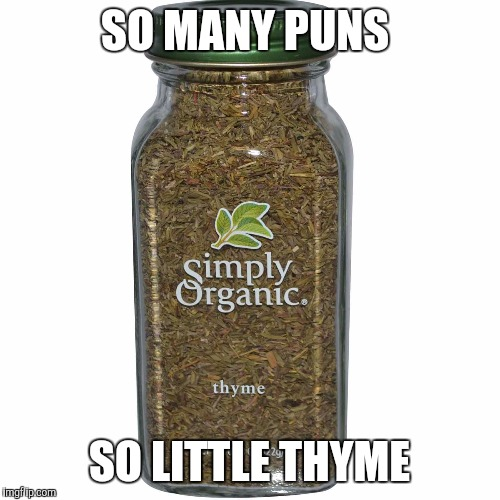 So many puns, so little thyme  | SO MANY PUNS SO LITTLE THYME | image tagged in thyme,puns,memes | made w/ Imgflip meme maker