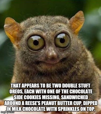 big eyes smiling critter | THAT APPEARS TO BE TWO DOUBLE STUFT OREOS, EACH WITH ONE OF THE CHOCOLATE SIDE COOKIES MISSING, SANDWICHED AROUND A REESE'S PEANUT BUTTER CU | image tagged in big eyes smiling critter | made w/ Imgflip meme maker