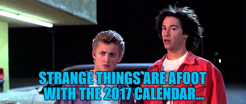 STRANGE THINGS ARE AFOOT WITH THE 2017 CALENDAR... | made w/ Imgflip meme maker