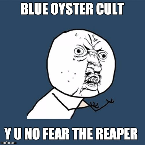 Y U No Meme | BLUE OYSTER CULT Y U NO FEAR THE REAPER | image tagged in memes,y u no | made w/ Imgflip meme maker