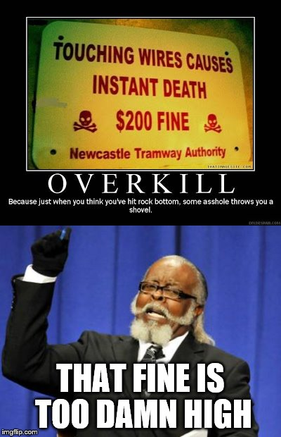 Um... | THAT FINE IS TOO DAMN HIGH | image tagged in signs,too damn high | made w/ Imgflip meme maker