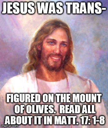 Read the Bible yall. |  JESUS WAS TRANS-; FIGURED ON THE MOUNT OF OLIVES.  READ ALL ABOUT IT IN MATT. 17: 1-8 | image tagged in memes,smiling jesus,trans,bible | made w/ Imgflip meme maker
