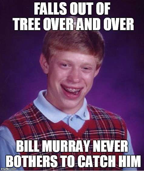 Bad Luck Brian Meme | FALLS OUT OF TREE OVER AND OVER BILL MURRAY NEVER BOTHERS TO CATCH HIM | image tagged in memes,bad luck brian | made w/ Imgflip meme maker