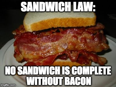 SANDWICH LAW: NO SANDWICH IS COMPLETE WITHOUT BACON | image tagged in bacon sandwich | made w/ Imgflip meme maker
