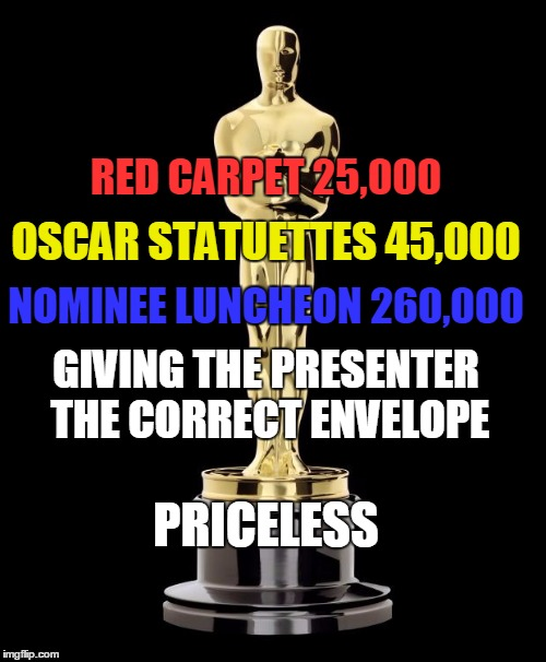 Oscar Exam | RED CARPET 25,000 OSCAR STATUETTES 45,000 NOMINEE LUNCHEON 260,000 GIVING THE PRESENTER THE CORRECT ENVELOPE PRICELESS | image tagged in oscar exam | made w/ Imgflip meme maker