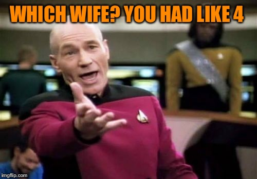 Picard Wtf Meme | WHICH WIFE? YOU HAD LIKE 4 | image tagged in memes,picard wtf | made w/ Imgflip meme maker