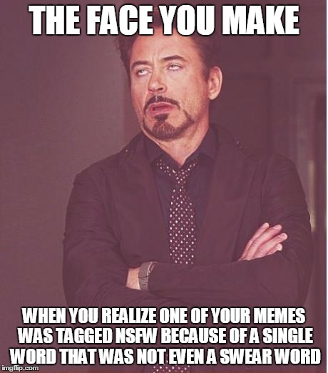 Moderator Problems | THE FACE YOU MAKE WHEN YOU REALIZE ONE OF YOUR MEMES WAS TAGGED NSFW BECAUSE OF A SINGLE WORD THAT WAS NOT EVEN A SWEAR WORD | image tagged in memes,face you make robert downey jr,stupid,moderators | made w/ Imgflip meme maker