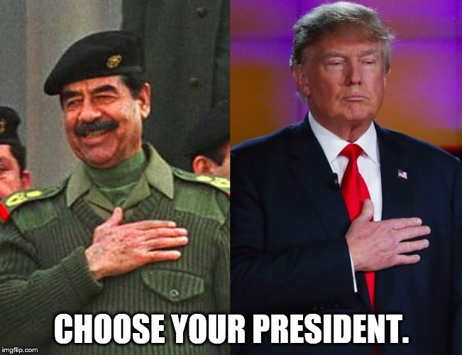 Saddam and Donald. | CHOOSE YOUR PRESIDENT. | image tagged in presidents,saddam hussein,donald trump | made w/ Imgflip meme maker