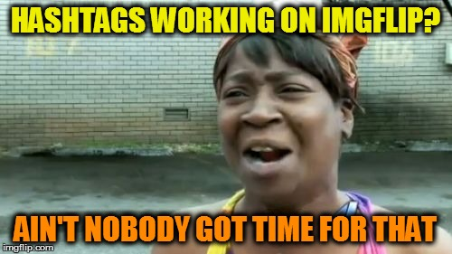 Aint Nobody Got Time For That Meme | HASHTAGS WORKING ON IMGFLIP? AIN'T NOBODY GOT TIME FOR THAT | image tagged in memes,aint nobody got time for that | made w/ Imgflip meme maker