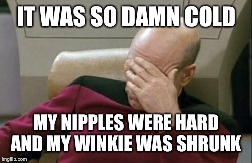 Captain Picard Facepalm Meme | IT WAS SO DAMN COLD MY NIPPLES WERE HARD AND MY WINKIE WAS SHRUNK | image tagged in memes,captain picard facepalm | made w/ Imgflip meme maker