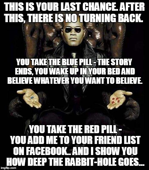 Morpheus Blue & Red Pill |  THIS IS YOUR LAST CHANCE. AFTER THIS, THERE IS NO TURNING BACK. YOU TAKE THE BLUE PILL - THE STORY ENDS, YOU WAKE UP IN YOUR BED AND BELIEVE WHATEVER YOU WANT TO BELIEVE. YOU TAKE THE RED PILL - YOU ADD ME TO YOUR FRIEND LIST ON FACEBOOK.. AND I SHOW YOU HOW DEEP THE RABBIT-HOLE GOES... | image tagged in morpheus blue  red pill | made w/ Imgflip meme maker