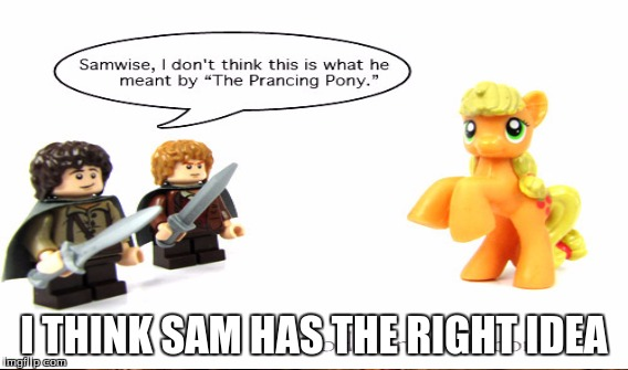 Yeah that pony clearly isnt prancing still... | I THINK SAM HAS THE RIGHT IDEA | image tagged in my little pony,lord of the rings,lego,memes,funny | made w/ Imgflip meme maker