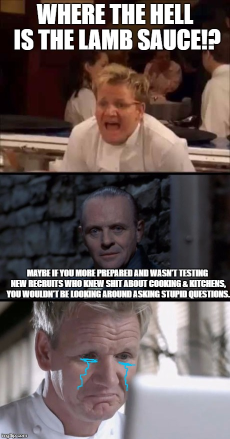 Always think ahead when cooking! | WHERE THE HELL IS THE LAMB SAUCE!? MAYBE IF YOU MORE PREPARED AND WASN'T TESTING NEW RECRUITS WHO KNEW SHIT ABOUT COOKING & KITCHENS, YOU WO | image tagged in chef gordon ramsay,hannibal lecter silence of the lambs,lamb sauce,gordon ramsay crying | made w/ Imgflip meme maker