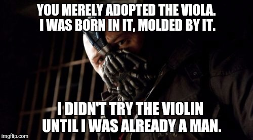 When ex-violinists talk to certain violists about picking up the viola | YOU MERELY ADOPTED THE VIOLA. I WAS BORN IN IT, MOLDED BY IT. I DIDN'T TRY THE VIOLIN UNTIL I WAS ALREADY A MAN. | image tagged in memes,permission bane,viola,thatbritishviolaguy,music,batman | made w/ Imgflip meme maker