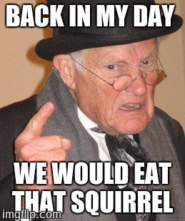 Back In My Day Meme | BACK IN MY DAY WE WOULD EAT THAT SQUIRREL | image tagged in memes,back in my day | made w/ Imgflip meme maker