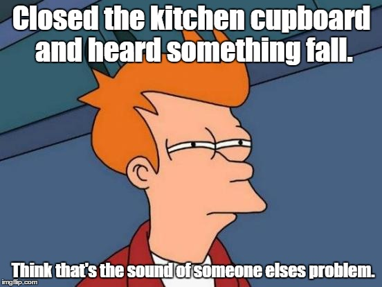 Futurama Fry Meme | Closed the kitchen cupboard and heard something fall. Think that's the sound of someone elses problem. | image tagged in memes,futurama fry | made w/ Imgflip meme maker