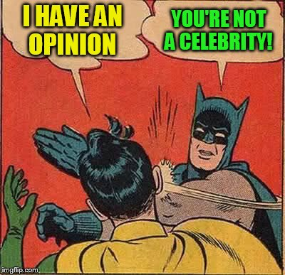 Batman Slapping Robin Meme | I HAVE AN OPINION YOU'RE NOT A CELEBRITY! | image tagged in memes,batman slapping robin | made w/ Imgflip meme maker